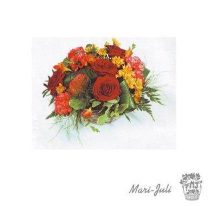 Ref.ES2EMO.Centro mediano redondo flores variadas tonos rojos naranjas.