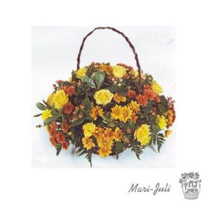 Ref.ES2ALE.Cesta flores variadas formal redonda en tono otoño.