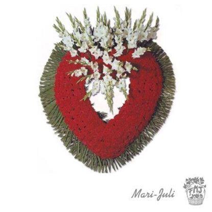Ref.FMJ0087.Corazón Funerario en tonos rojos .