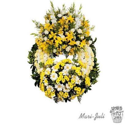 Ref.FMJ0002.Corona Clásica de Doble Cabecero en tonos amarillos y blancos.