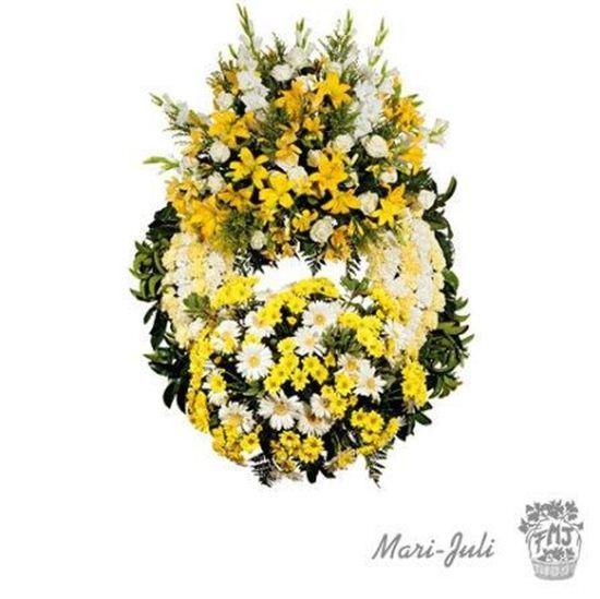 Imagen de Ref.FMJ0002.Corona Clásica de Doble Cabecero en tonos amarillos y blancos.