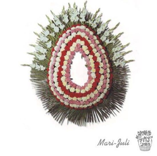 Imagen de Ref.FMJ0091.Corona Funeraria con colores rojos y blancos y rosados