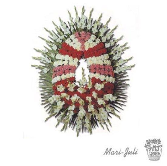 Imagen de Ref.FMJ0092.Corona Funeraria con colores rojos y blancos y rosados .