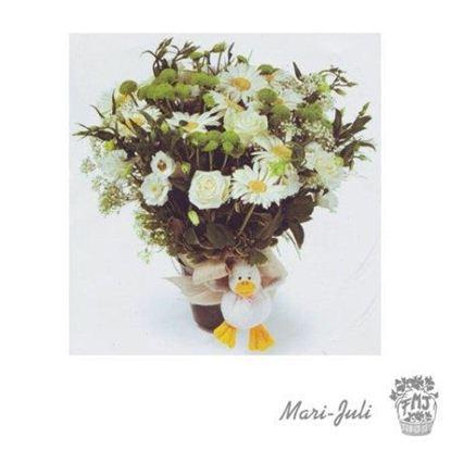 Ref.ES5AL.Centro de flores vertical blanco verde peluche Nacimientos.