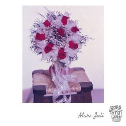 Ref.FMJ0056.Ramo de Novia Bouquet en tonos rosados y rojos.