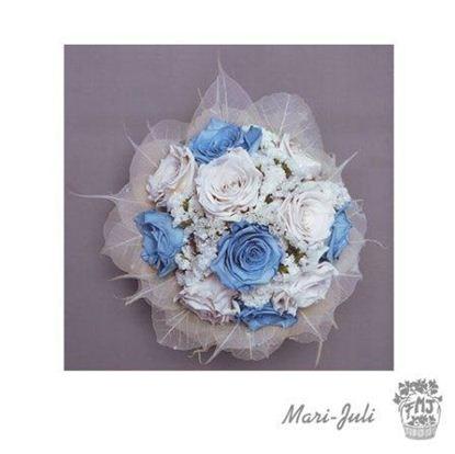 Ref.N0002.Ramo de novia rosas preservadas azul blanco.
