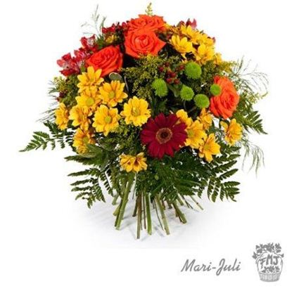 Ref.FMJ0006.Ramo de Flores formal redondo realizado con flores amarillas y naranjas.