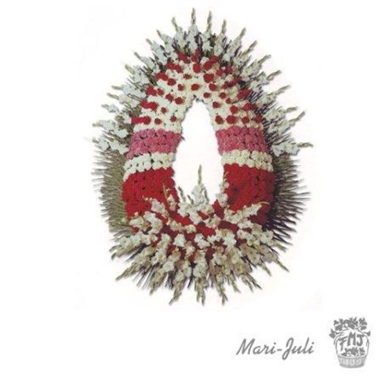 Imagen de Ref.FMJ0098.Corona Funeraria con tonos rojos y blancos.